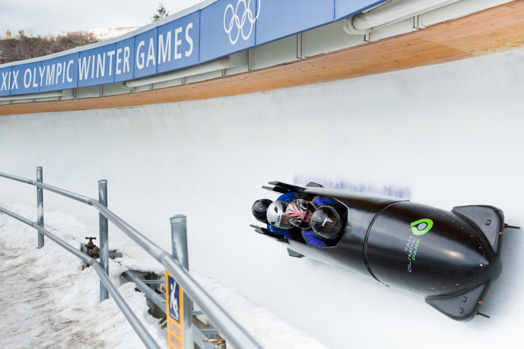 Taking a bobsled ride at Utah Olympic Park.