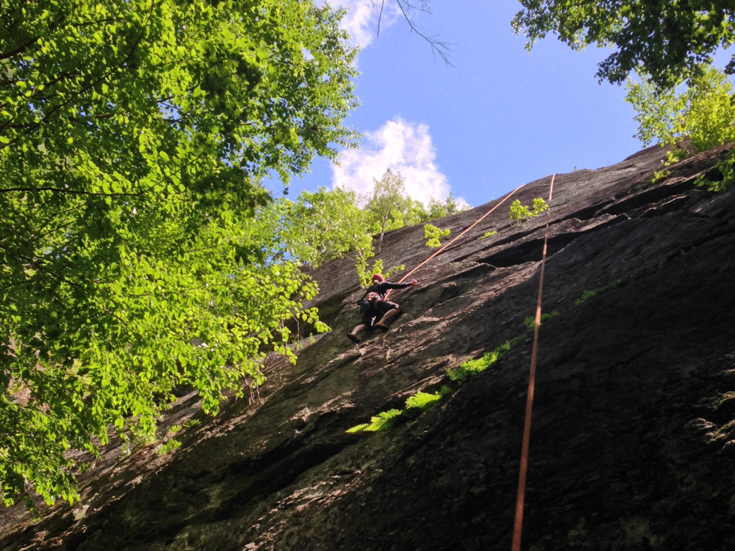 Suzanne Loring climbing Sticks and Stones (5.9)