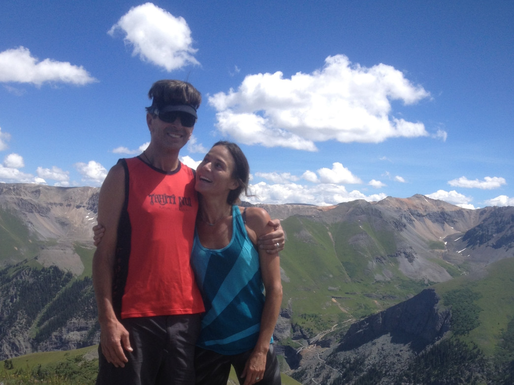 Brian and Hilaree O'Neill on the summit of Ballard Mountain near Telluride on a recent sunny day.
