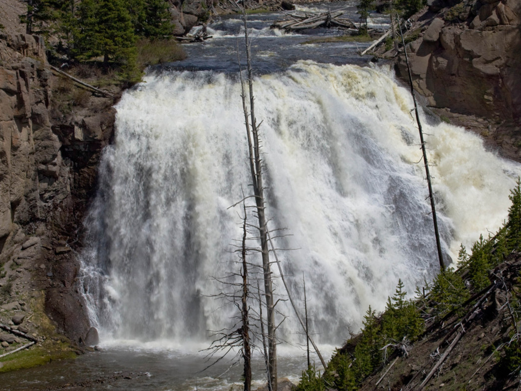 Gibbon Falls is a highlight of this ride through Yellowstone.