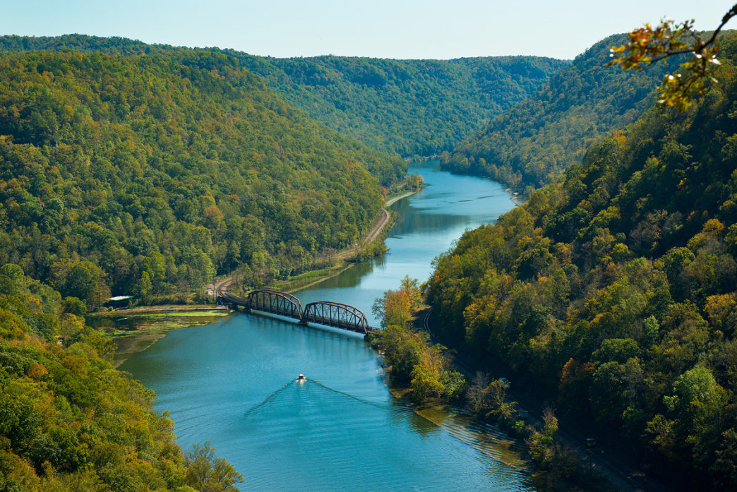 A bird's eye view of a kayaker in West Virginia.     VaMedia