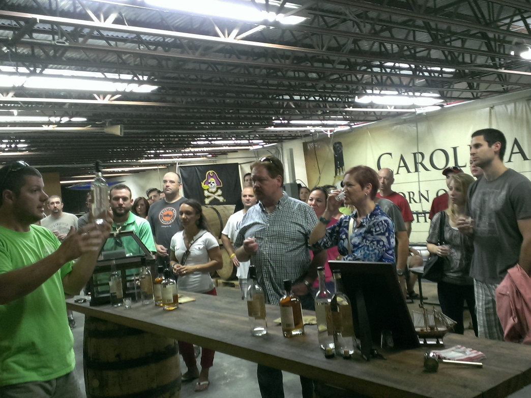 Owner/distillers Rob and Carolina Delaney are involved in every aspect of the business, including acting as tour guide.