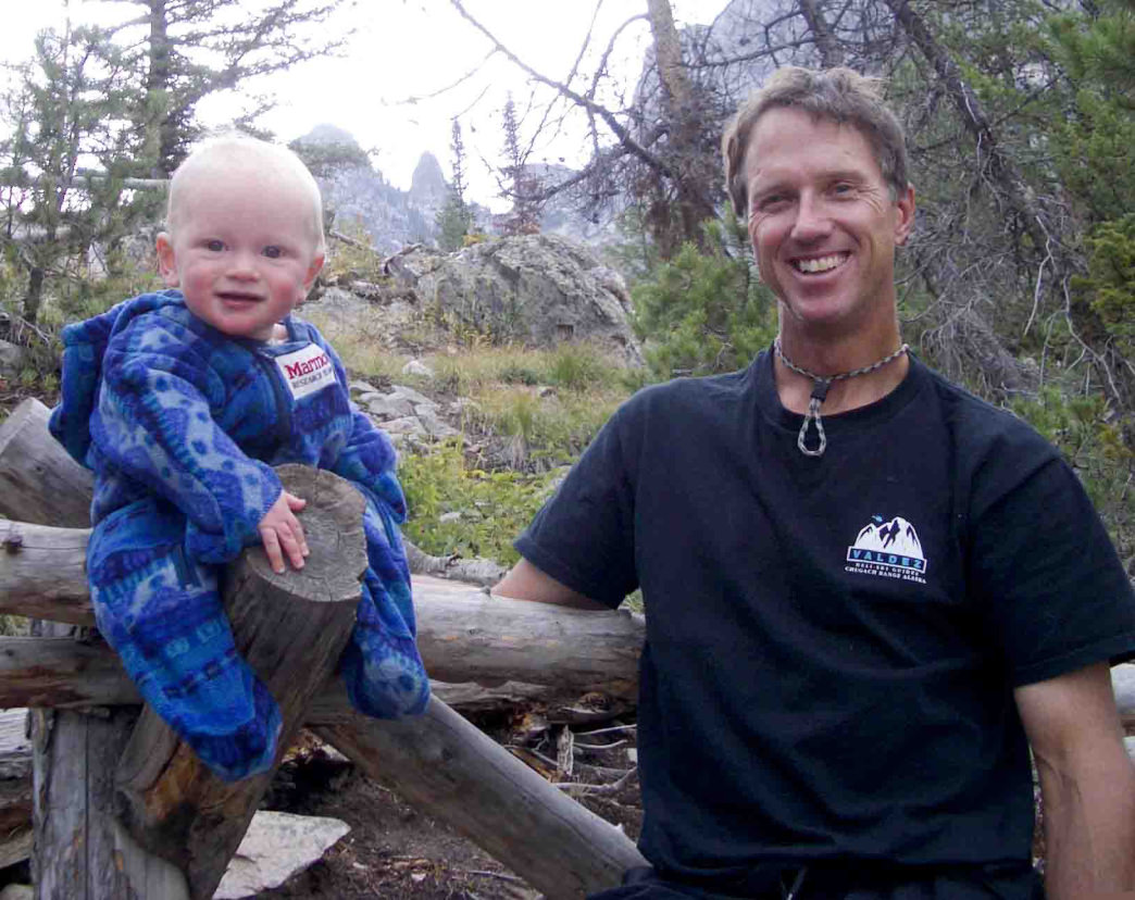 Doug and baby David enjoying the outdoors together.     Photo courtesy of The Doug Coombs Foundation