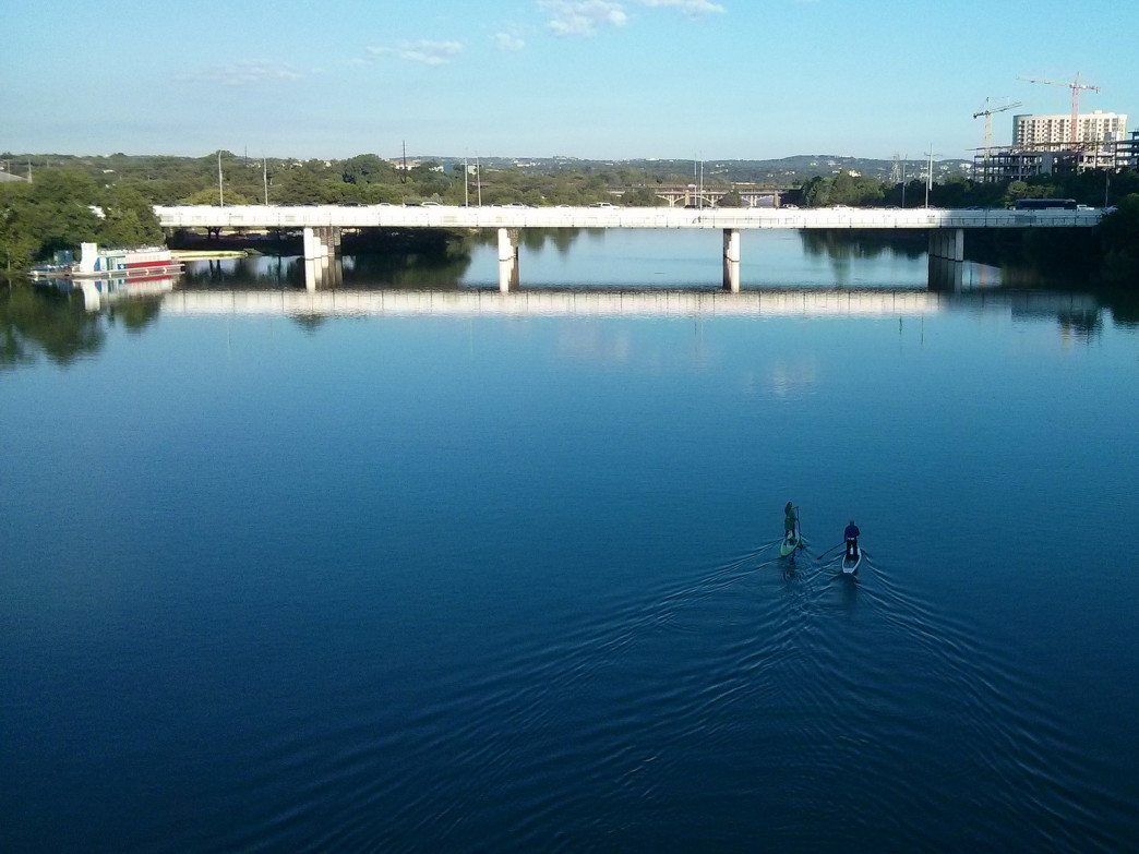 Stand-up paddleboarding in Austin.
