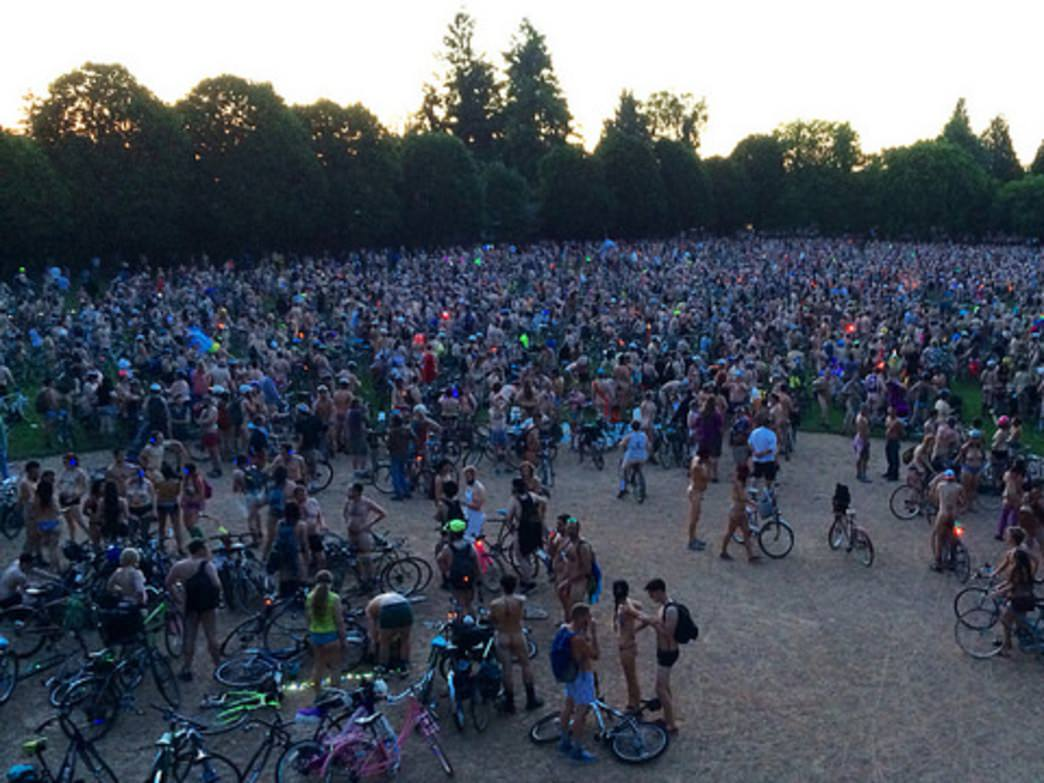 Cyclists gather before the World Naked Bike Ride in 2014.
