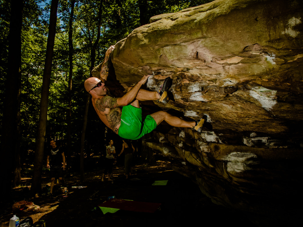 After you take in the views, pull on your climbing shoes and get some bouldering in.