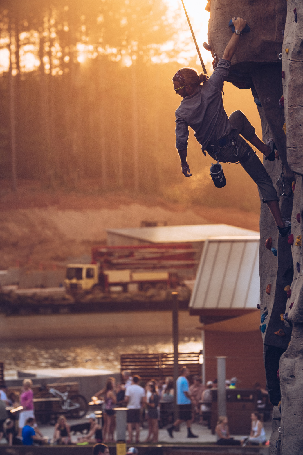 Rock climbing at golden hour at the U.S. National Whitewater Center.