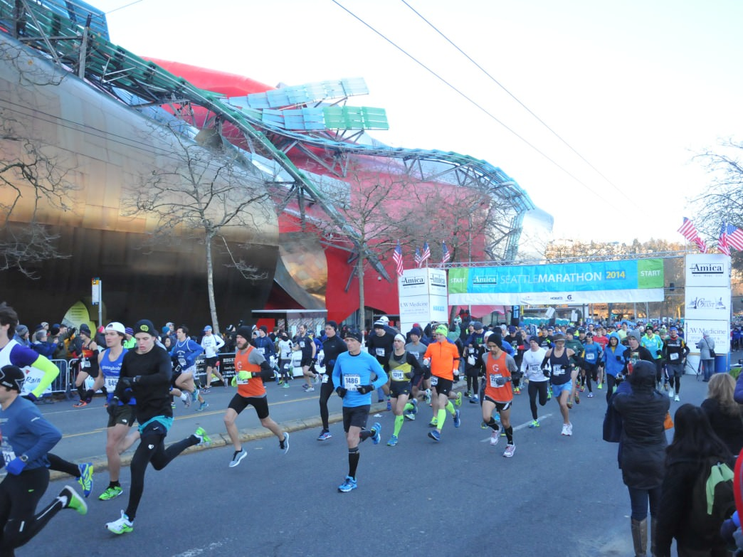 Runners at the starting line of the Amica Seattle Marathon.