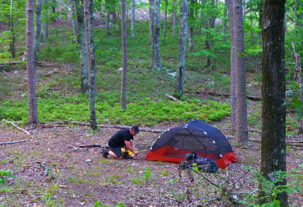 Setting up camp in a saddle in the Dugger Mountain Wilderness.