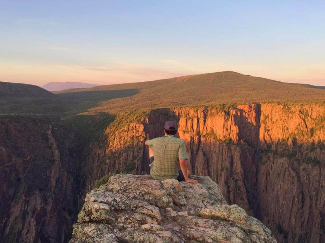 Admiring the incredibly steep canyon walls of the Black Canyon of the Gunnison.