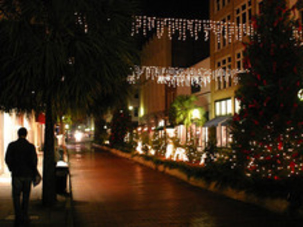 Charleston Christmas lights after dark