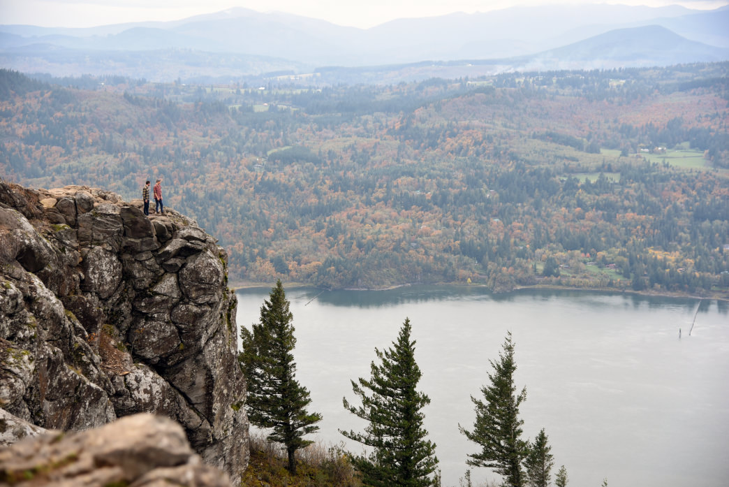 Taking in the expansive Columbia River Gorge views from the summit of Angel's Rest.