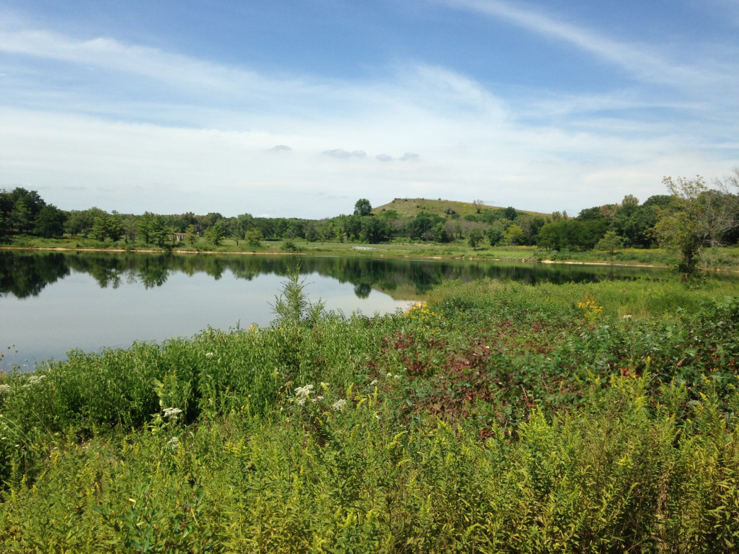 Mt. Hoy at the Blackwell Forest Preserve rises above the surrounding lake.