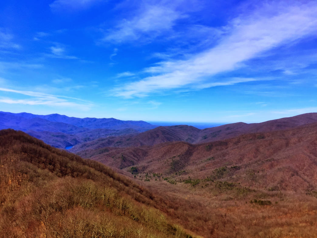 The view of the Smokies from Shuckstack.