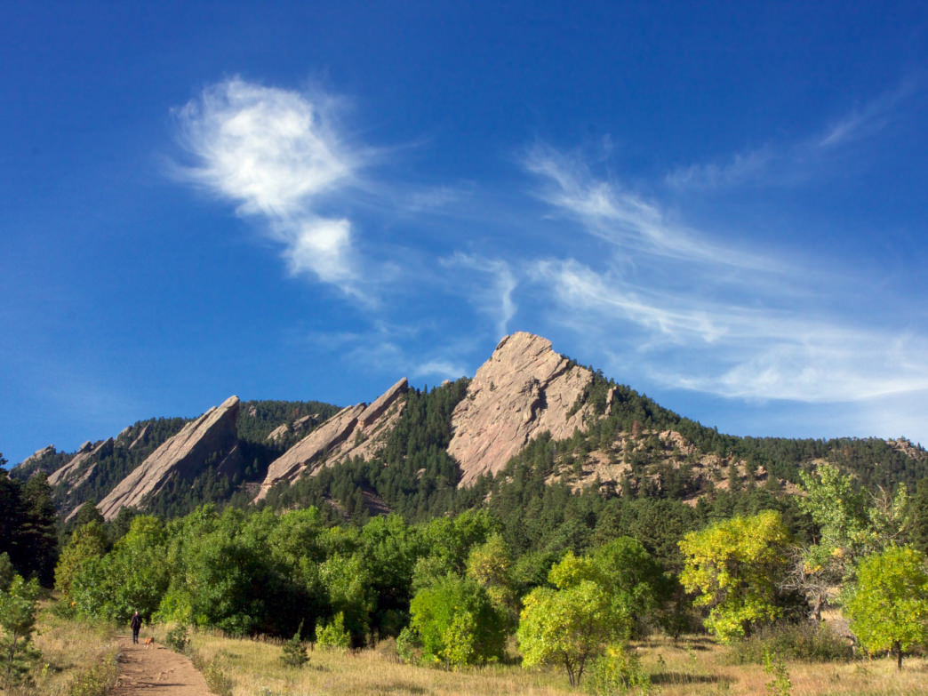 On the west side of Boulder, the Flatirons are a favorite local destination for hiking and trail running.