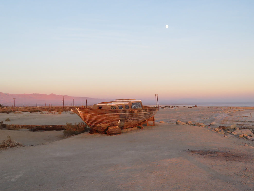 A forgotten boat at the Salton Sea.