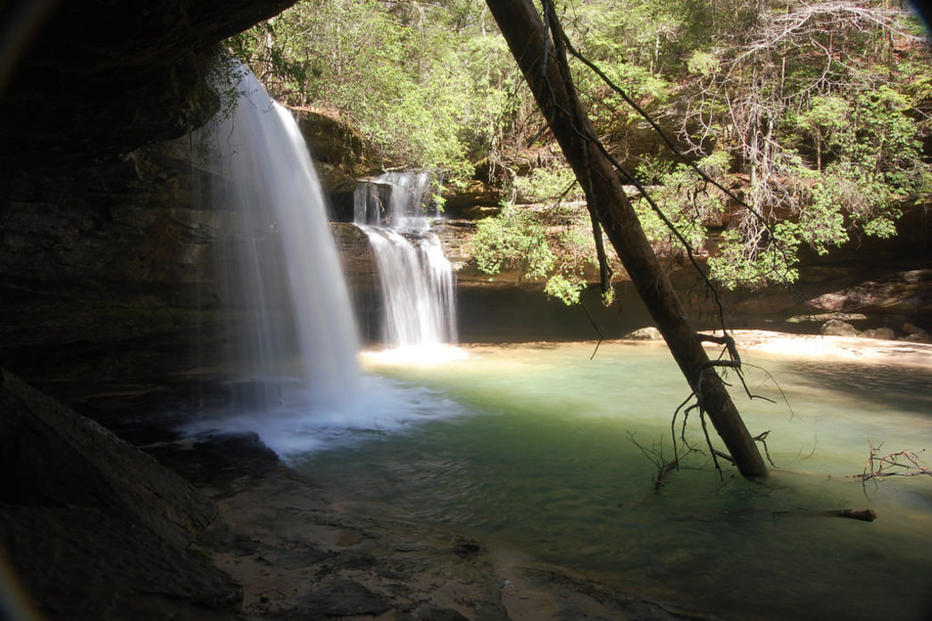 Caney Creek Falls is one of the few waterfalls in the state that flows year-round.