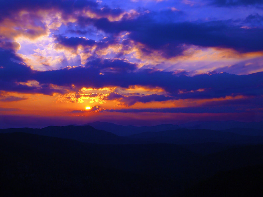 Sunset from Hawksbill Mountain in the Linville Gorge.
