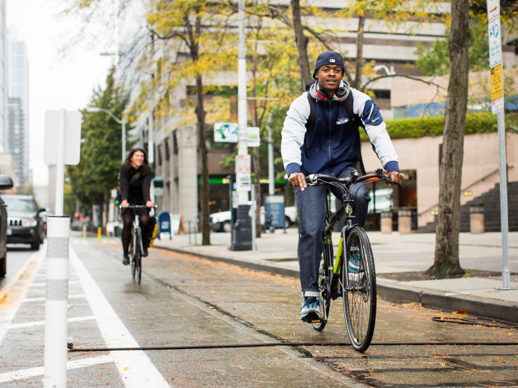 Protected bike lanes make Seattleites feel safer commuting downtown.