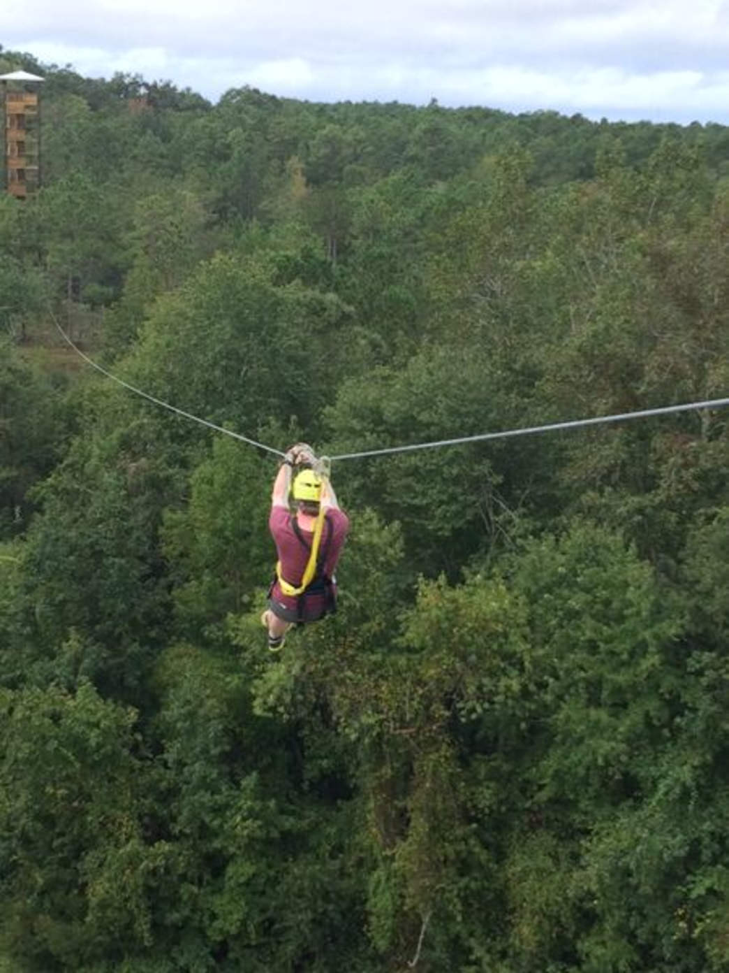 Zip lining at Shallotte River Swamp Park