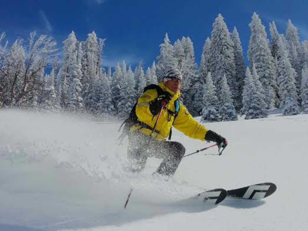Jay Pistono skiing on Teton Pass.