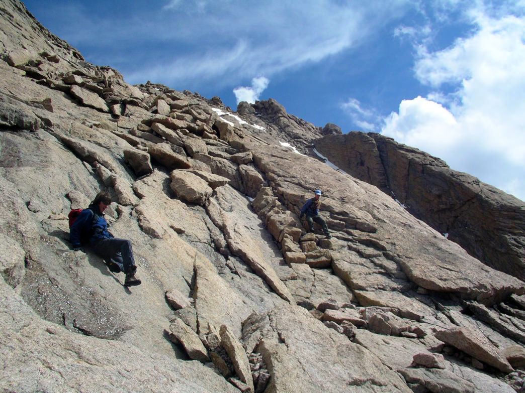 Descending the Home Stretch just off the summit of Longs Peak.