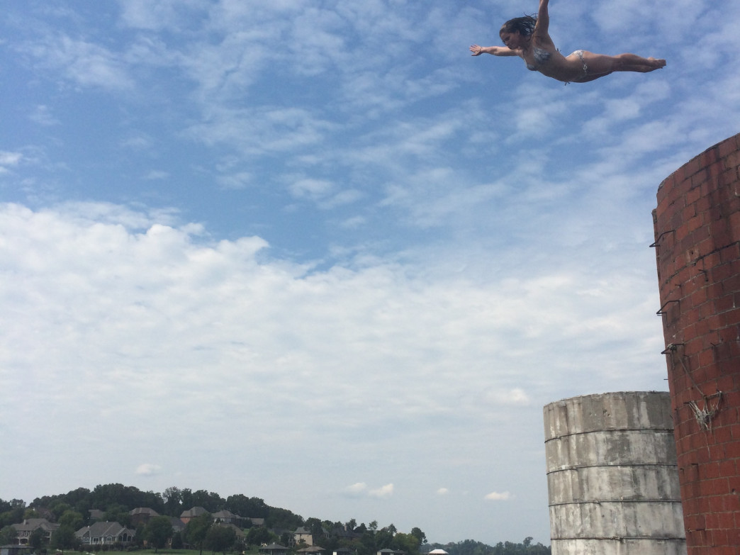 Perfect form while diving from a silo at Tellico Lake.