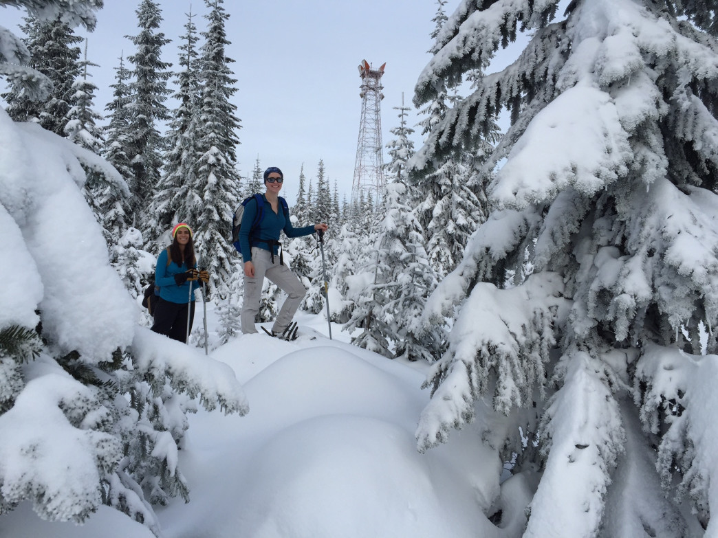 Snowshoers scouting out Snoqualmie Pass.