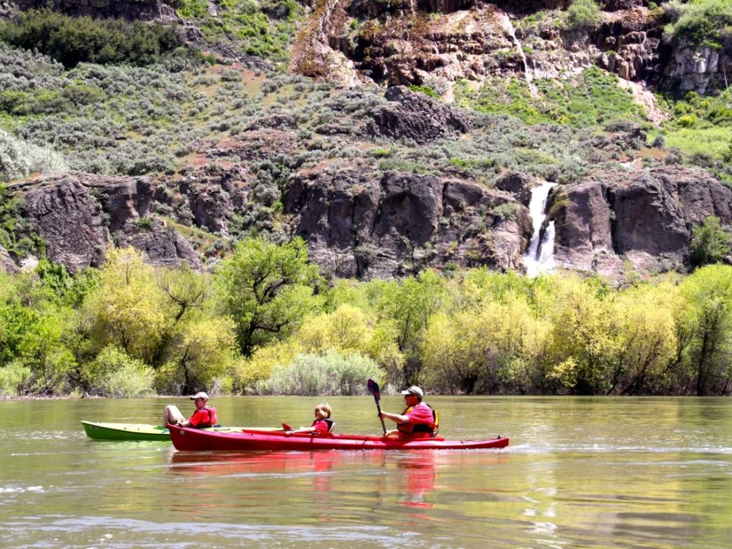 Although the Snake River is big water, it slows down below Shoshone and Pillar falls making it possible to paddle upstream for a good day adventure on the water.