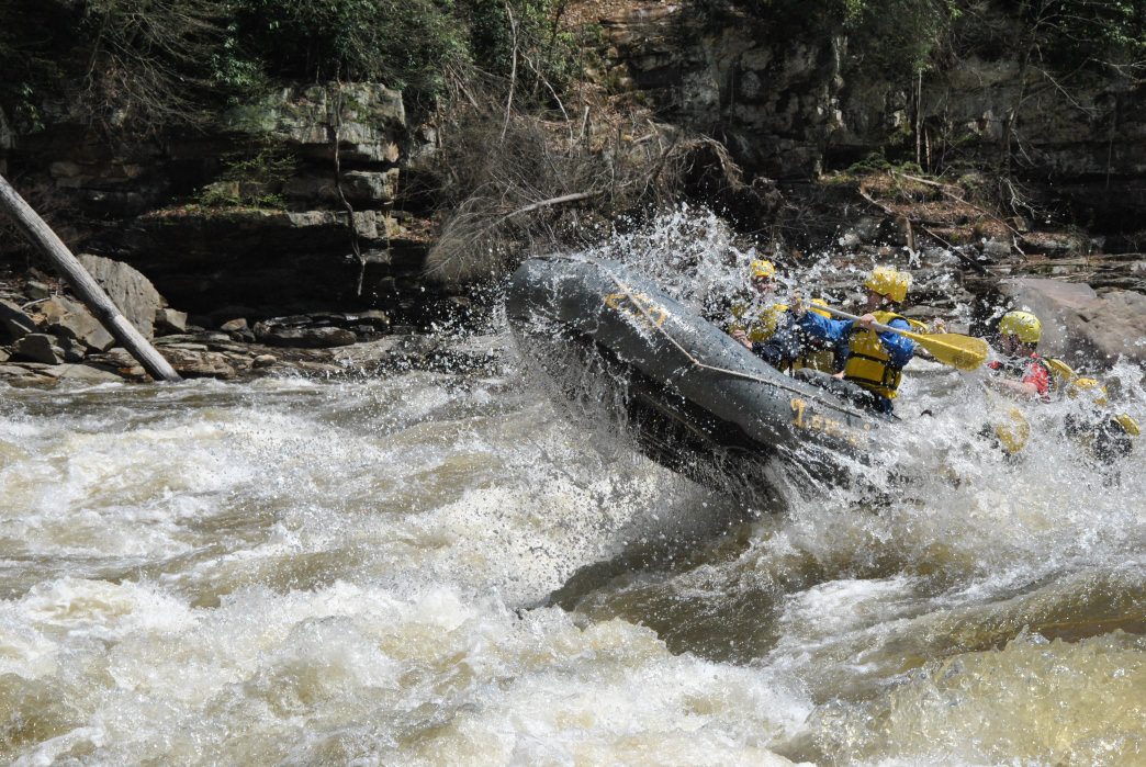 Rafters hit rapids on the Cheat River.