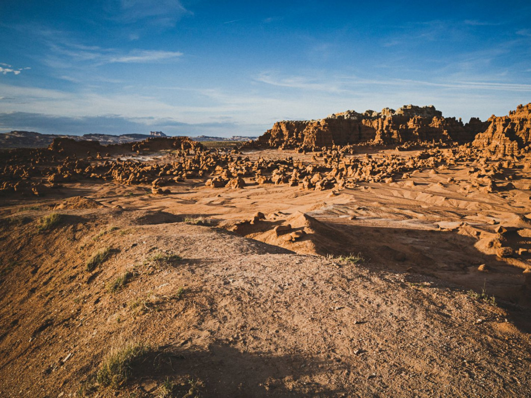 Night falls on Goblin Valley, Utah