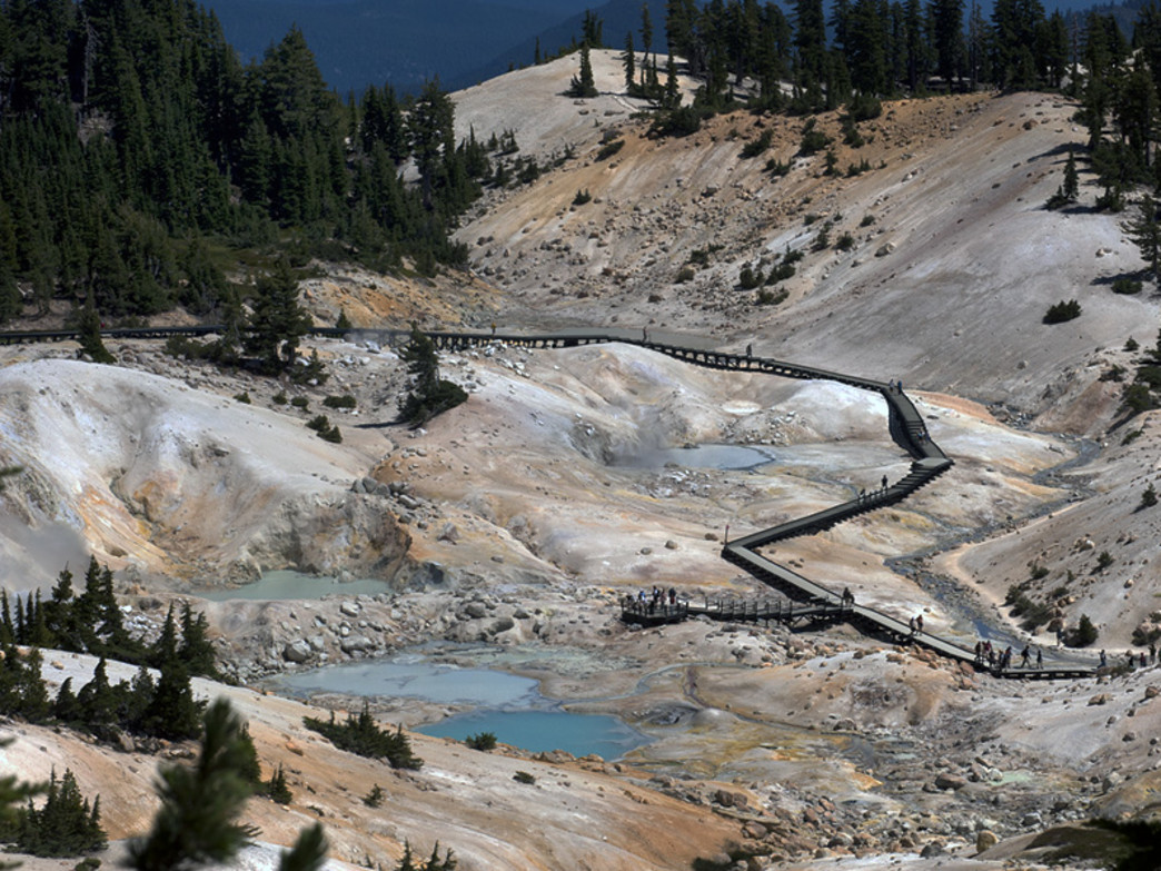 A boardwalk through Bumpass Hell, the largest hydrothermal area in Lassen National Volcanic Park.