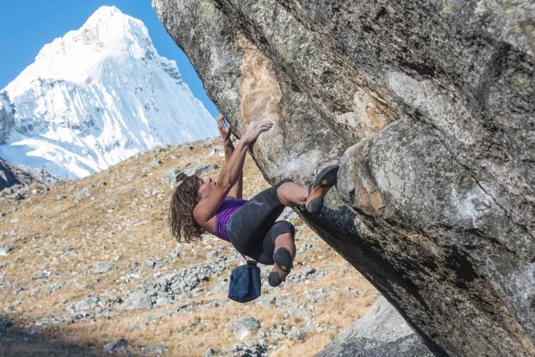 Smith on Breathless (V11), a 35-foot highball boulder problem that she established in the Cordillera Blanca in Peru.     ANDY MANN