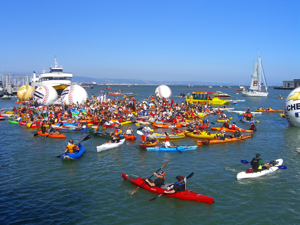 Join the floating party at McCovey Cove.