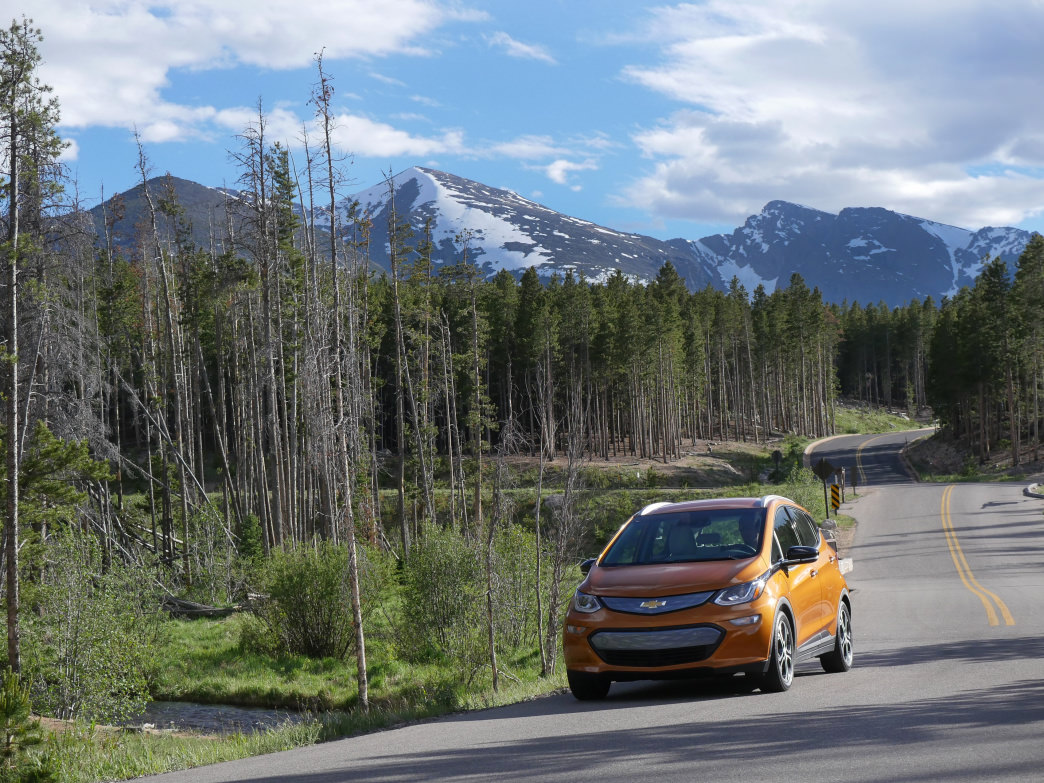 Chevy's new Bolt EV is an all-electric vehicle that is ready to roam in Colorado's Rocky Mountains.