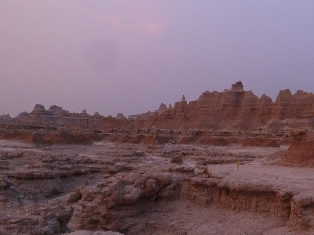Early morning sun at Badlands National Park brings out deeper tones in the rock layers.