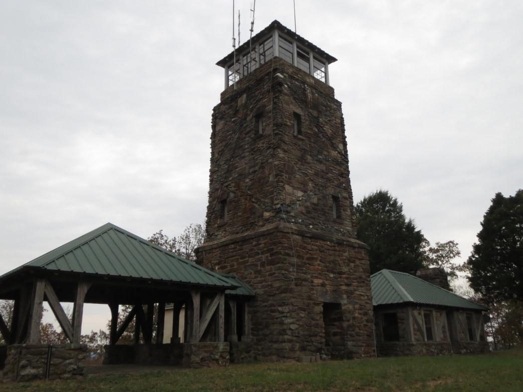 An all but forgotten work of art, the stone fire tower that was created by the CCC in 1935 sits on top of Flagg Mountain.