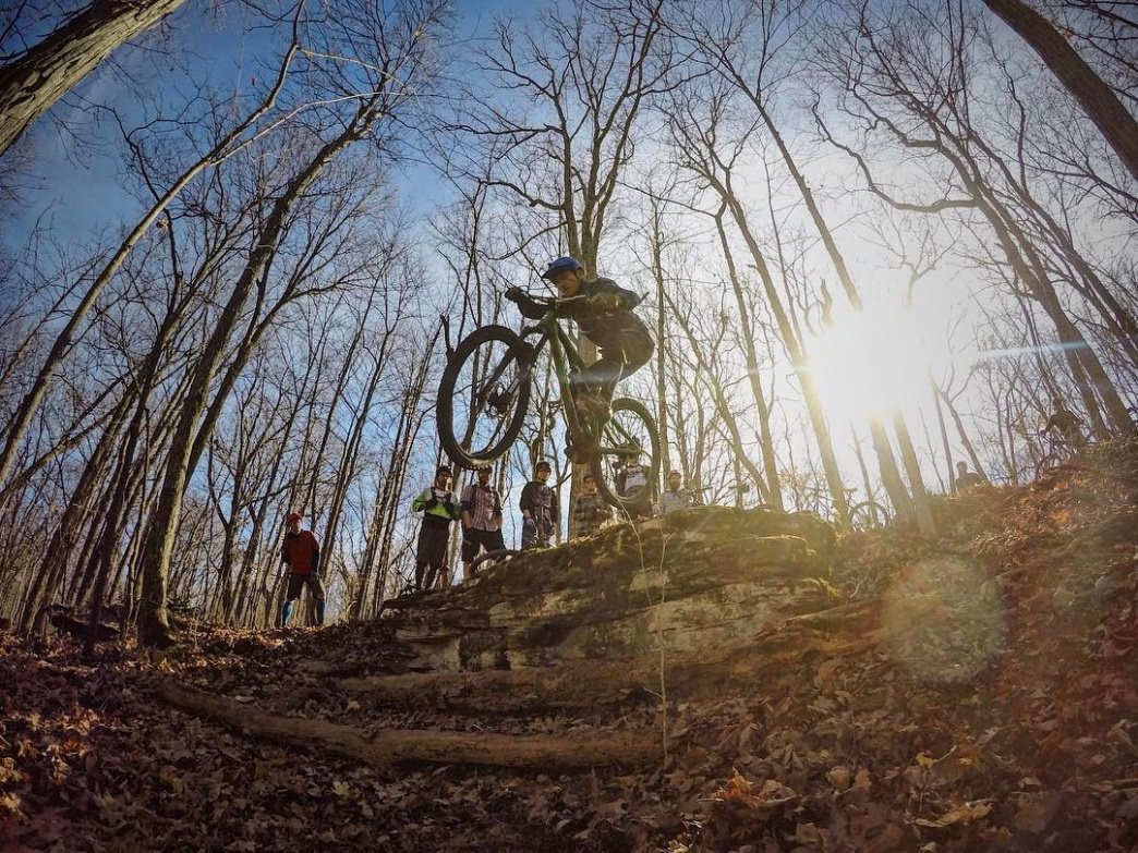 Even the mostly flat trails have a few spots to get air at Monte Sano.