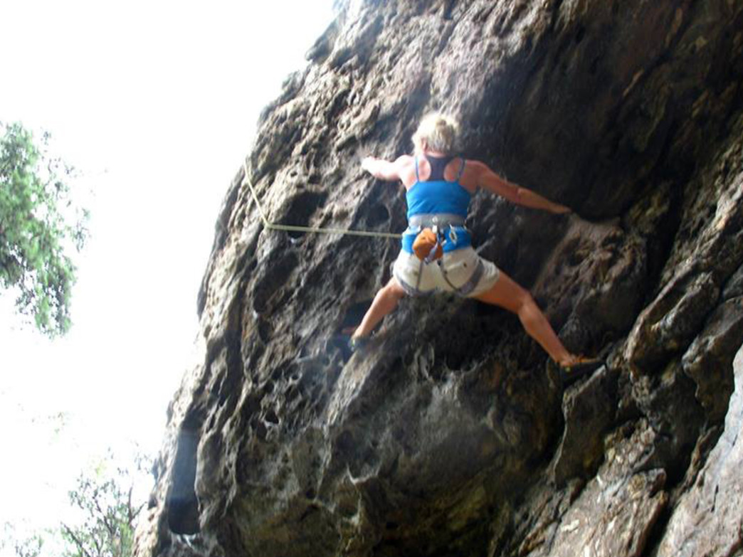 After a nasty hand injury, Karen Shaub is now back to climbing.