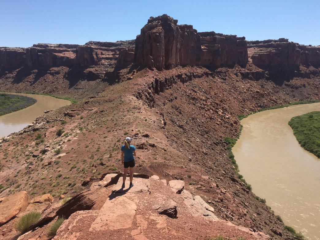 At mile 70, the Green River nudges within ¼ mile of its own tail before making a sweeping 7-mile diversion around Bowknot Bend. Hike to the saddle for two views of the river.