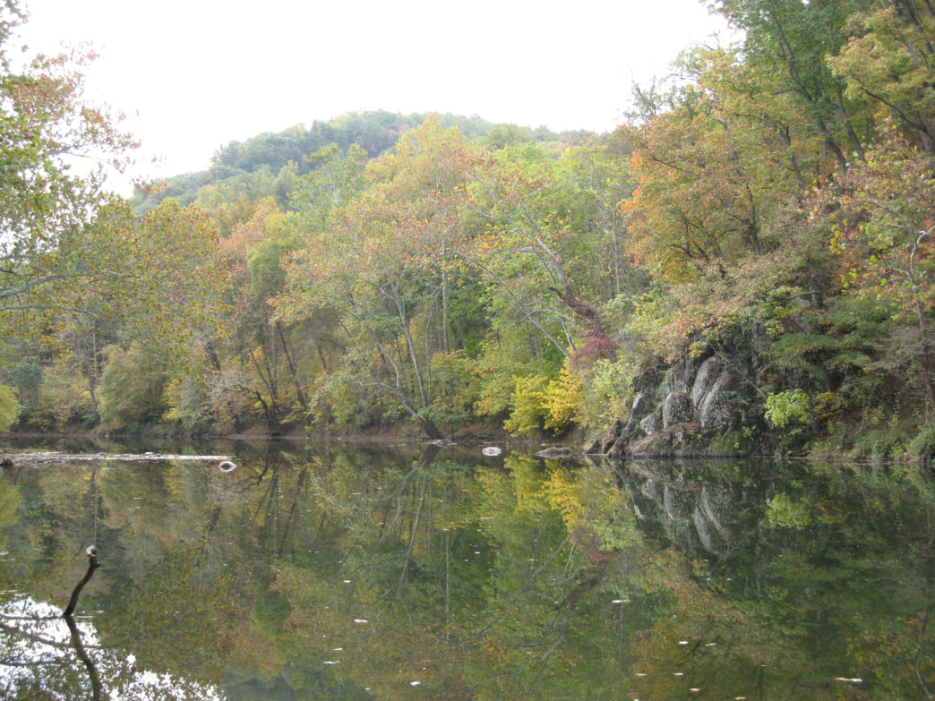 Much of the Cacapon River flows in a zig-zag pattern during its 81-mile journey to the Potomac River.