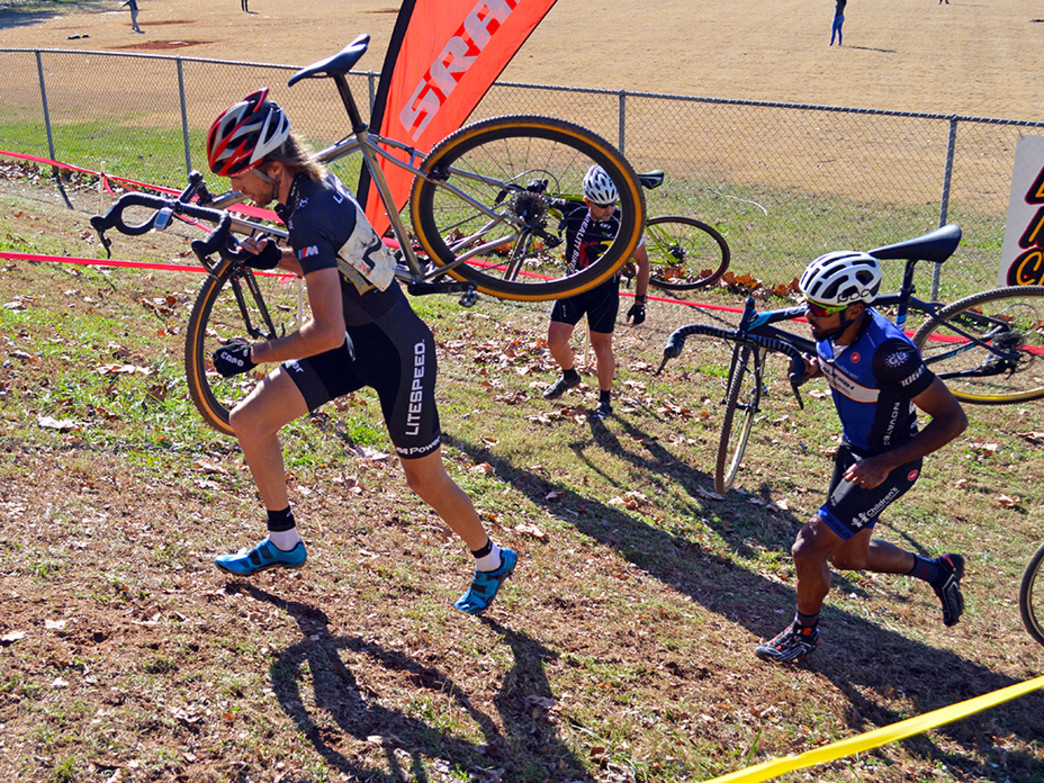 Frank Travieso follows Nicholas VanWinkle on the run-up at the Grant Park CX race.