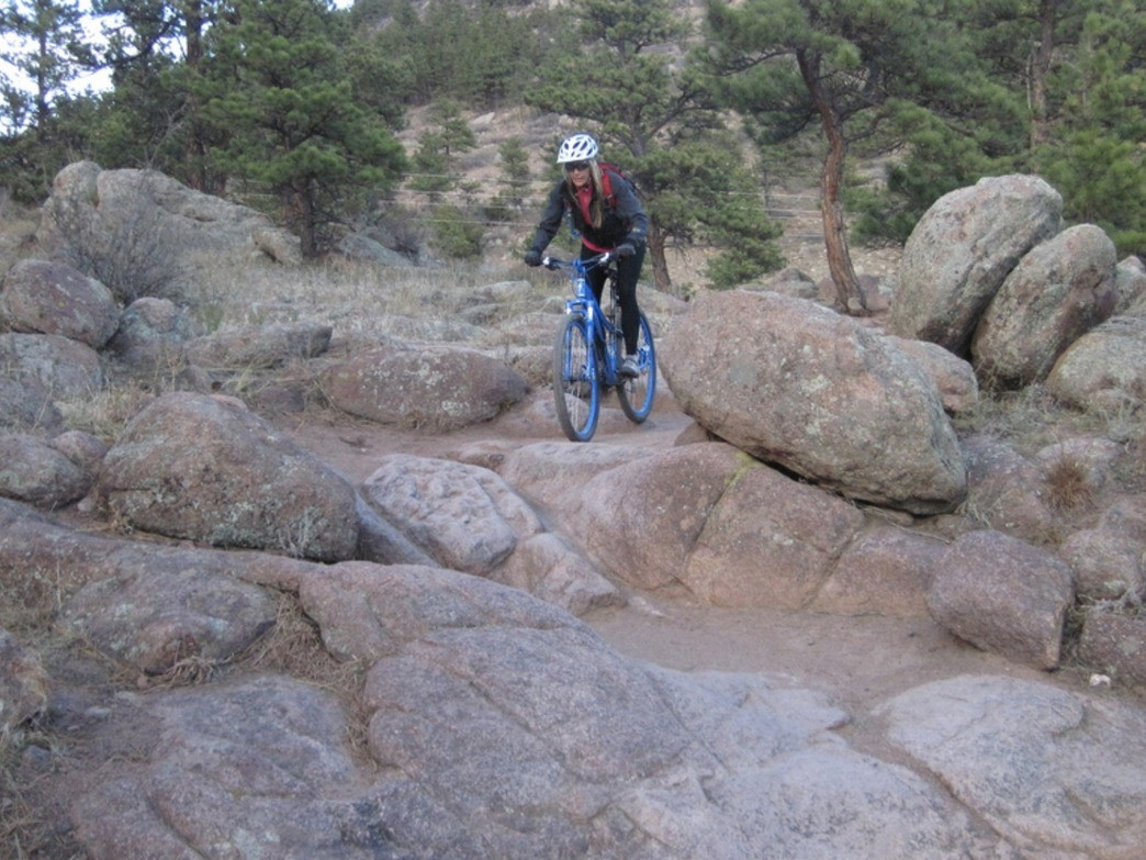 The rock garden at Hall Ranch tests even the most skilled riders.