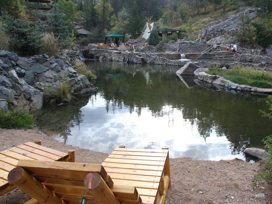 The gorgeous masonry surrounding the Strawberry Park Hot Springs pools adds to the stunning setting.