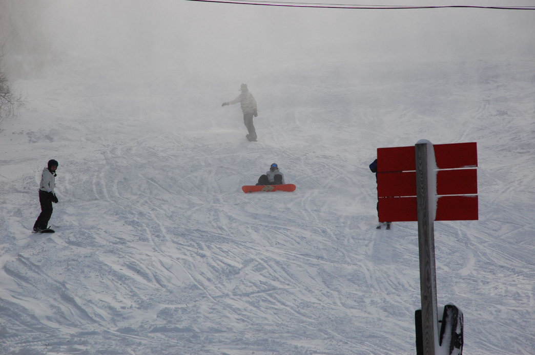 Inbounds boarding at Killington Mountain