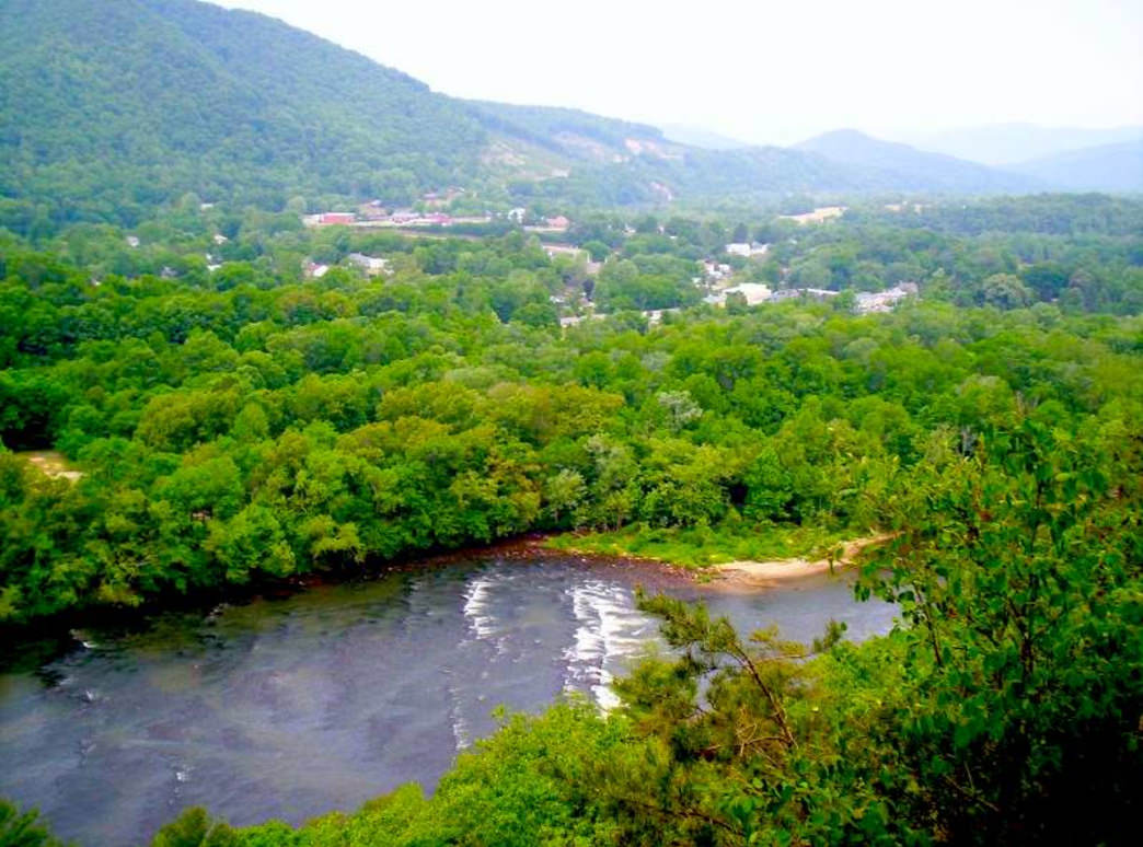 Looking down at Hot Springs from Lover's Leap