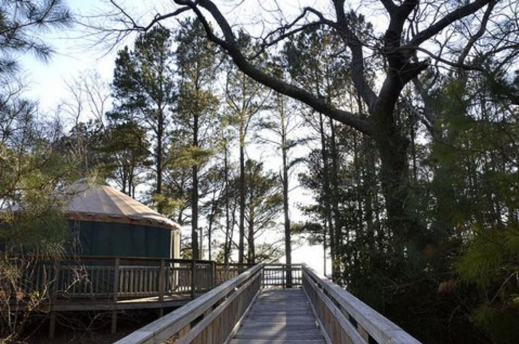 Walk out of your yurt at Kiptopeke State Park and you're on your own private deck overlooking a gorgeous Chesapeake Bay beach.     Courtesy of Visit Eastern Shore, Virginia
