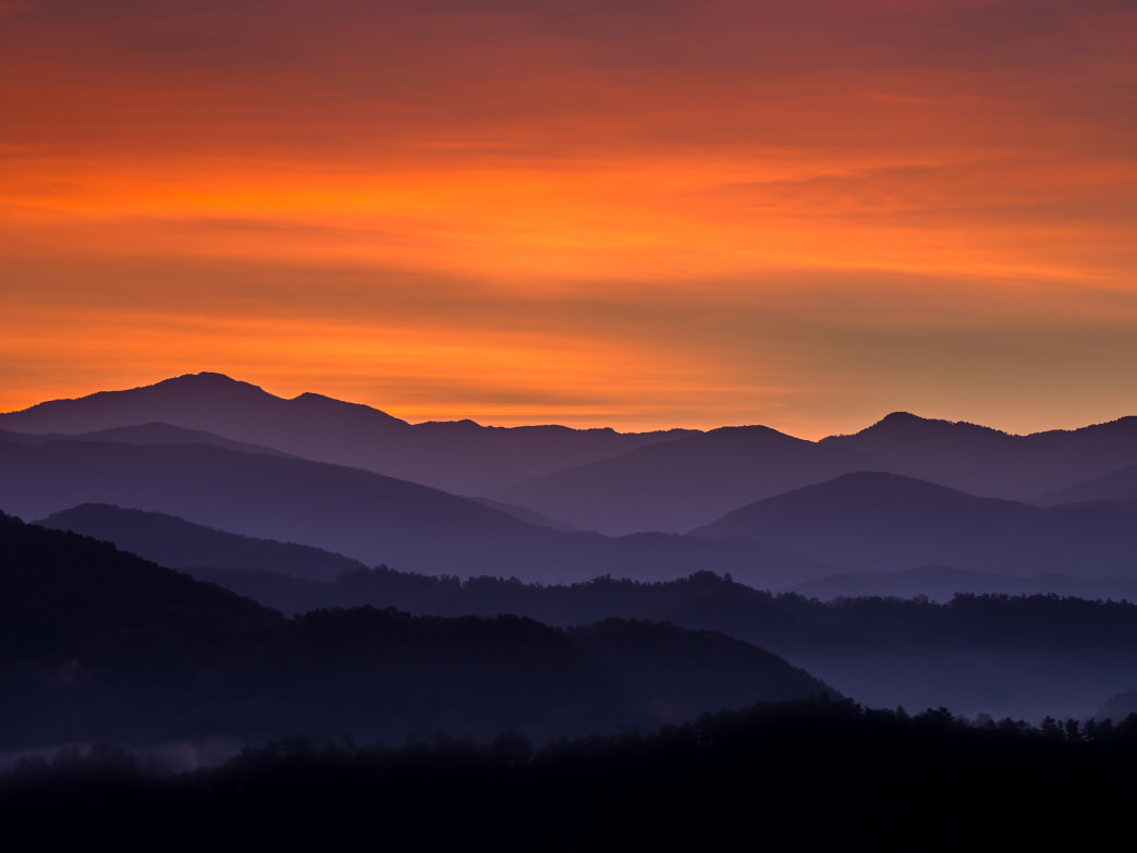 It's worth getting up early to have this view of the sun rising in the Smokies.