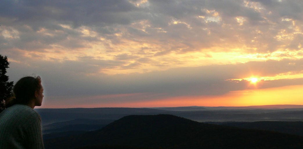 Sunrise over the Pioneer Valley in Massachusetts as seen from Mount Norwottuck.