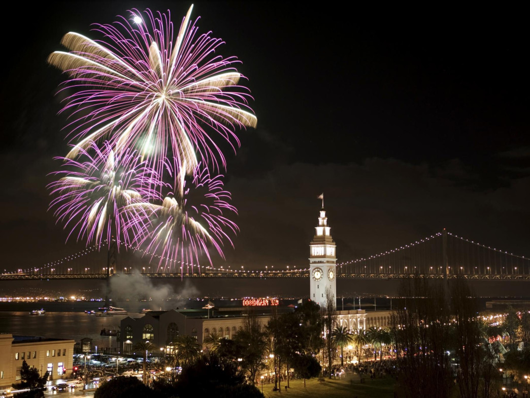 San Francisco is a beautiful spot to catch fireworks, with reflections over the water.